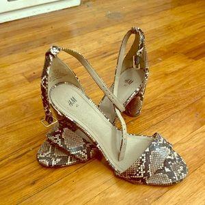 Snakeskin block heel